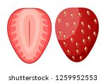 ripe red strawberry berry two... | Shutterstock .eps vector #1259952553