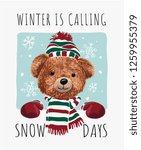 winter slogan with bear doll on ... | Shutterstock .eps vector #1259955379