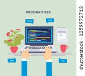 workplace of programmer or... | Shutterstock .eps vector #1259972713