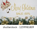 board with post merry christmas ... | Shutterstock . vector #1259981809