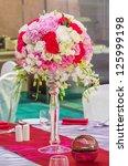 Flower Bouquet In Glass Vase O...