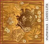 garden peonies and wild tiger.... | Shutterstock .eps vector #1260011356