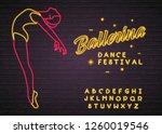 ballerina neon light glowing... | Shutterstock .eps vector #1260019546