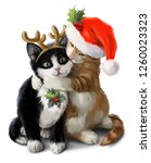 Stock photo red and black kittens in carnival costumes 1260023323