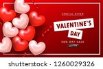 valentine's day sale background.... | Shutterstock .eps vector #1260029326
