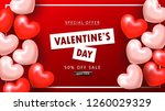 valentine's day sale background.... | Shutterstock .eps vector #1260029329