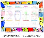 colorful  chalk drawing doodles ... | Shutterstock .eps vector #1260043780