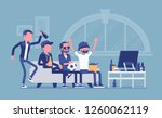 men gathering at home  assembly ... | Shutterstock .eps vector #1260062119