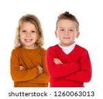 two happy children with fair...   Shutterstock . vector #1260063013
