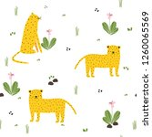 seamless pattern with funny... | Shutterstock .eps vector #1260065569