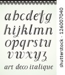 art deco alphabet  italic small ... | Shutterstock .eps vector #126007040