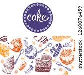 cakes hand drawing vector... | Shutterstock .eps vector #1260076459