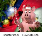 happy new year pink pig against ... | Shutterstock . vector #1260088726
