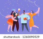group of friends making party... | Shutterstock .eps vector #1260090529