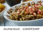 mujadara  lentils and rice with ... | Shutterstock . vector #1260092689