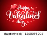 Stock vector valentine s day hand drawn typography with d hearts brush lettering quote happy valentine s 1260095206