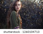 fashion portrait of young boho... | Shutterstock . vector #1260104713