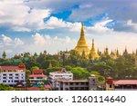 yangon  myanmar skyline with... | Shutterstock . vector #1260114640