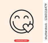 smile heart concept line icon....