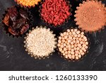 various superfoods in small... | Shutterstock . vector #1260133390