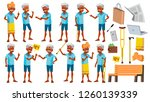 indian old man poses set vector.... | Shutterstock .eps vector #1260139339