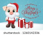 cute pig character. happy new... | Shutterstock .eps vector #1260142336