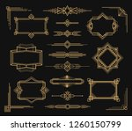 Art deco frame and border ornament set. Picture, card and photo ornamental vintage design Vector illustration on black background