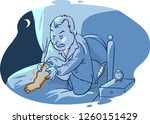 a man wakes and struggles with... | Shutterstock .eps vector #1260151429