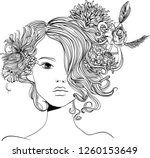 portrait of young beautiful... | Shutterstock .eps vector #1260153649