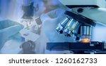 shot of microscope equipment... | Shutterstock . vector #1260162733