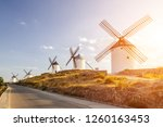 Windmills At Sunset In...