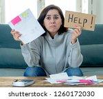 worried and desperate woman... | Shutterstock . vector #1260172030