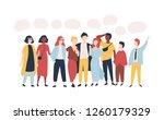 young men and women standing... | Shutterstock .eps vector #1260179329