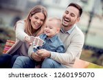 happy family.father mother and... | Shutterstock . vector #1260195070