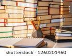 open book  textbook  laptop ... | Shutterstock . vector #1260201460