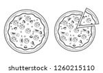 pizza vector with one color... | Shutterstock .eps vector #1260215110