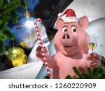 happy new year pink pig against ... | Shutterstock . vector #1260220909