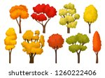 flat vector set of autumn trees ... | Shutterstock .eps vector #1260222406