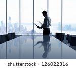 businessman in office and city... | Shutterstock . vector #126022316