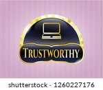 golden badge with laptop icon...   Shutterstock .eps vector #1260227176