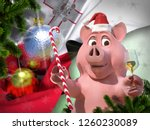 happy new year pink pig against ... | Shutterstock . vector #1260230089