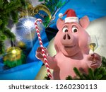 happy new year pink pig against ... | Shutterstock . vector #1260230113