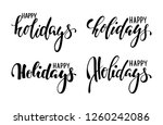 happy holidays. hand drawn... | Shutterstock .eps vector #1260242086