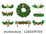 christmas wreath made of pine... | Shutterstock .eps vector #1260249703