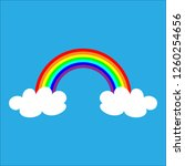 color rainbow with white clouds ... | Shutterstock .eps vector #1260254656