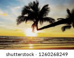 coconut tree on beach with the... | Shutterstock . vector #1260268249