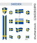 sweden flag collection. flat... | Shutterstock .eps vector #1260281893
