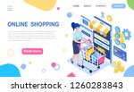 online shopping. woman and...   Shutterstock .eps vector #1260283843