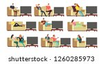happy family at home watching... | Shutterstock . vector #1260285973