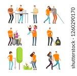 volunteers help people and... | Shutterstock . vector #1260290170